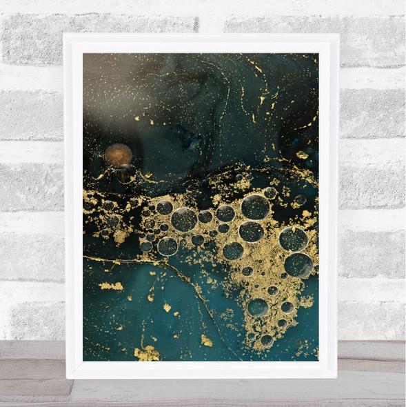 Teal & Golden Sand Swirl Abstract Wall Art Print