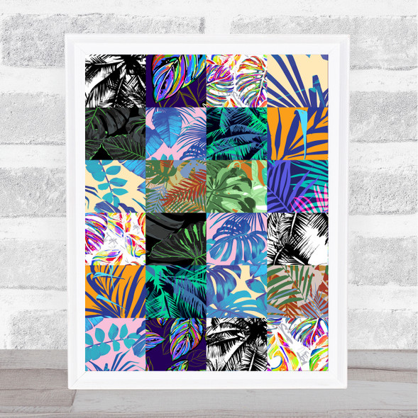 Jungle Leaves Small Various Colourful Squares Wall Art Print