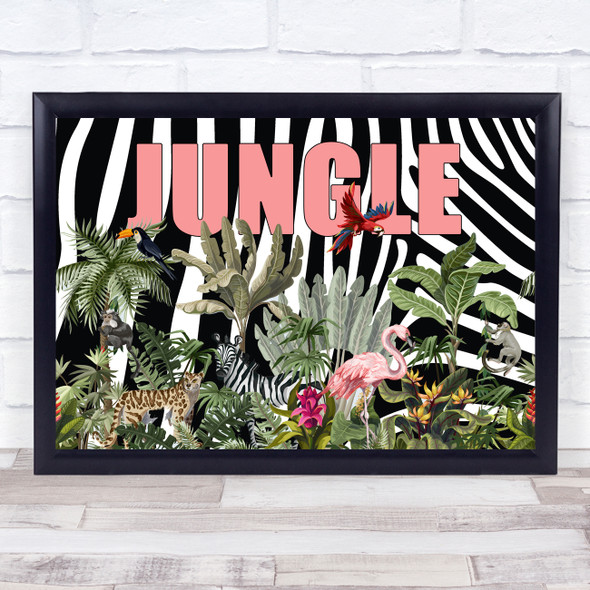 Jungle Pink Zebra Style Wall Art Print