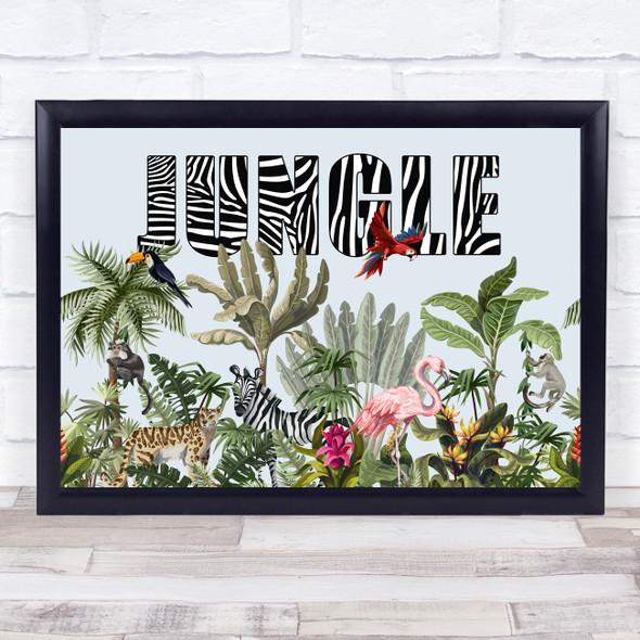 Jungle Zebra Text Style Wall Art Print