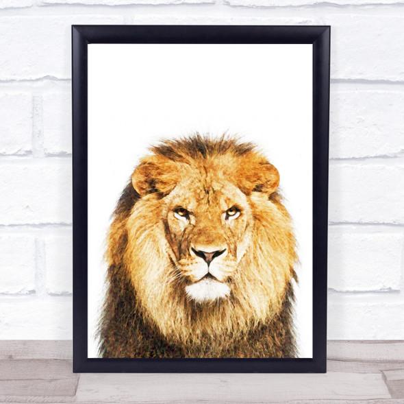 Lion Watercolour Wall Art Print