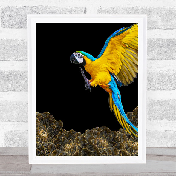 Parrot Gold Flowers Wall Art Print