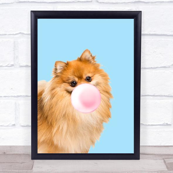 Pomeranian Colour Dog Light Blue Pink Gum Wall Art Print