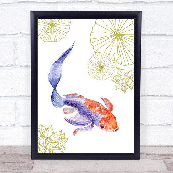 Purple Tinted Gold Fish & Gold Lilies With Lotus Wall Art Print