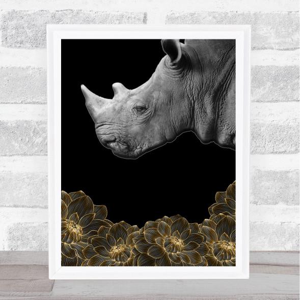 Rhino Beautiful Flowers Wall Art Print