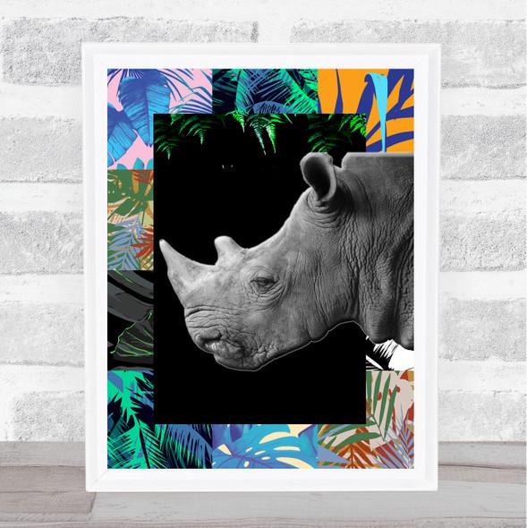 Rhino Jungle Squares Wall Art Print