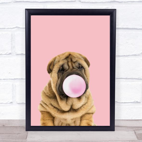 Shar-Pei Colour Dog Pink & Pink Gum Wall Art Print