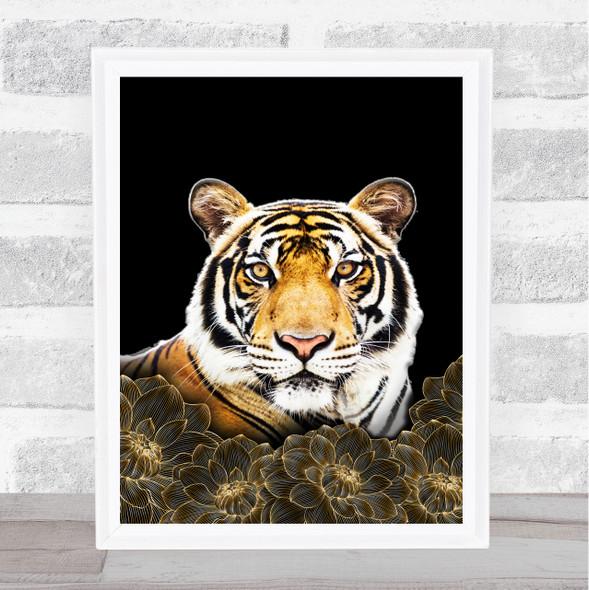 Tiger Gold Flowers Wall Art Print