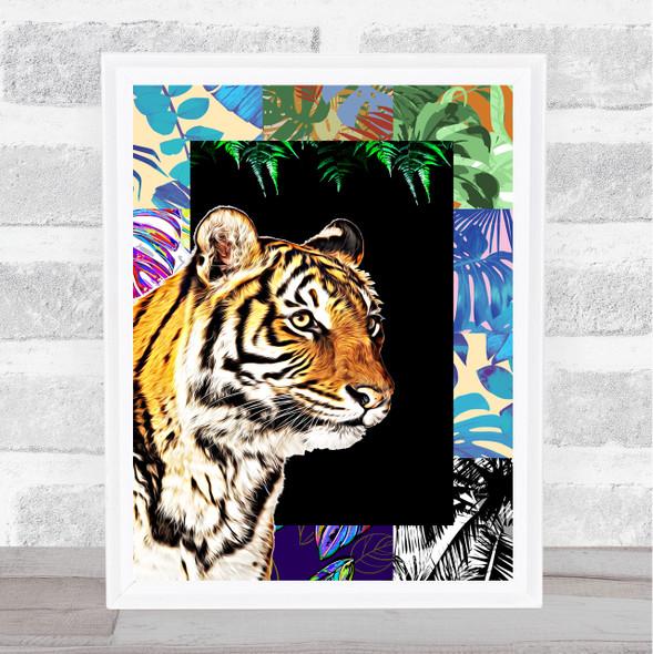 Tiger Jungle Squares Wall Art Print