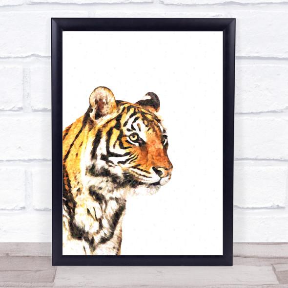 Tiger Watercolour Wall Art Print