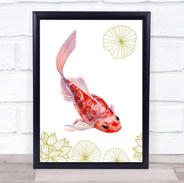 Tinted Gold Fish & Gold Lilies With Lotus Wall Art Print
