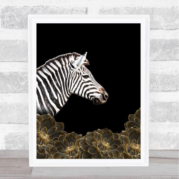 Zebra Gold Flowers Wall Art Print