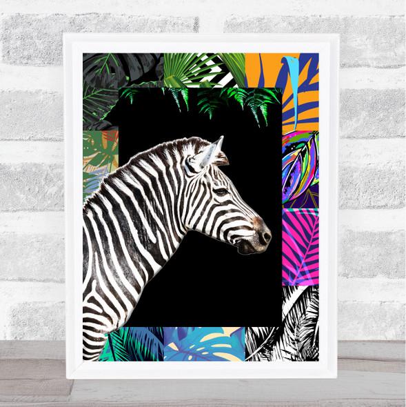 Zebra Jungle Squares Wall Art Print