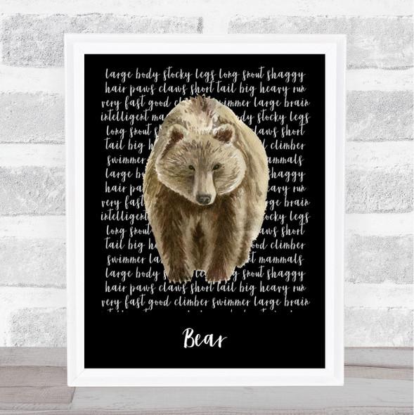 Bear Descriptive Wall Art Print
