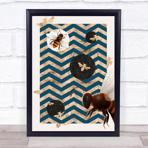Bee Geometric Blue & Gold Zigzag Bee Wall Art Print