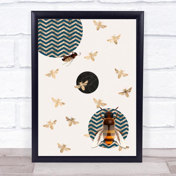 Bee Geometric Style Gold Bees On Cream Wall Art Print