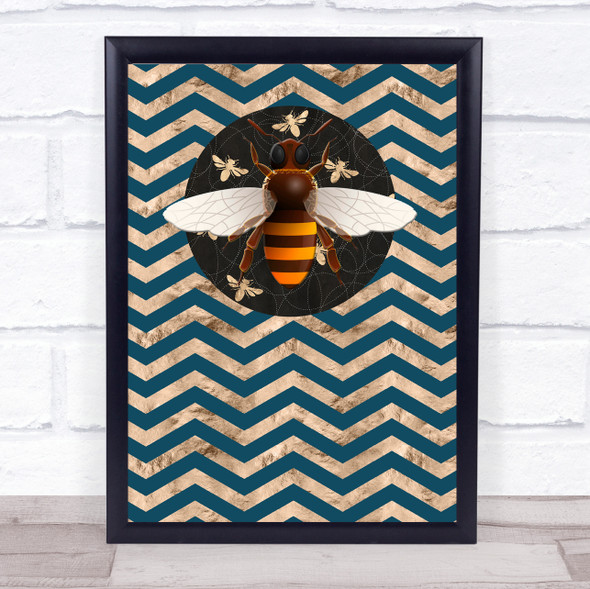Bee Geometric Style Zigzags Large Bee Wall Art Print