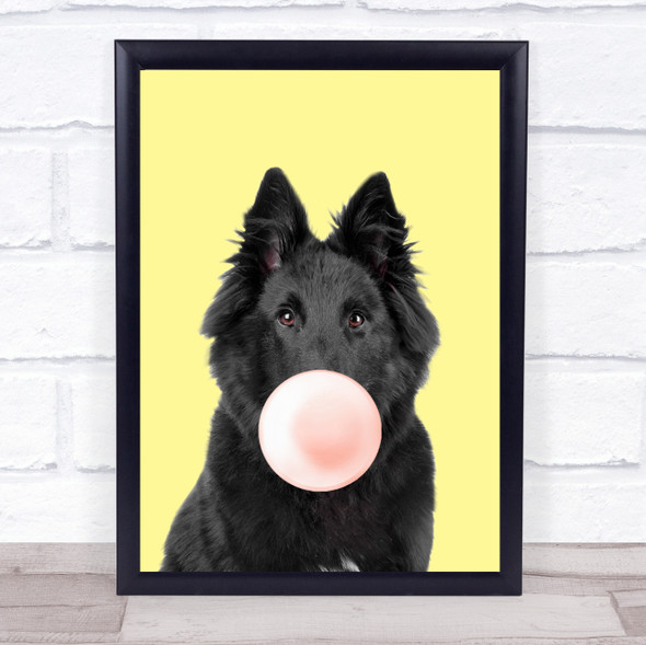 Belgian Shepherd Colour Dog Yellow Peach Gum Wall Art Print