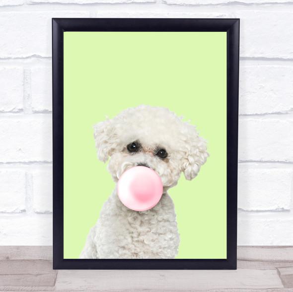 Bichon Frise Colour Dog Green Gum Wall Art Print