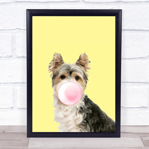 Biewer Terrier Colour Dog Yellow Pink Gum Wall Art Print