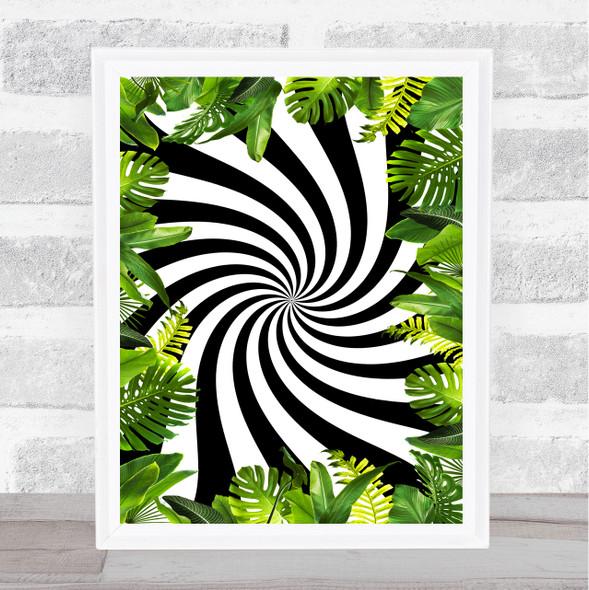 Black & White Swirl Jungle Leaves Border Wall Art Print