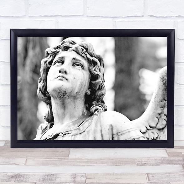 Angel Statue Black & White Wall Art Print