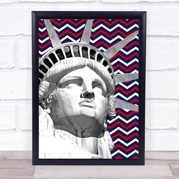 Statue Of Liberty American Clouds & Zigzags Punk Wall Art Print