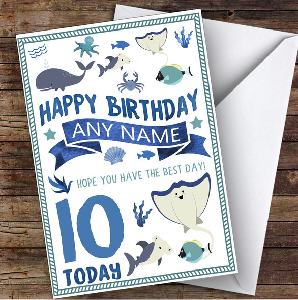 Whale Shark Fish Ocean Under The Sea Any Age & Name Children's Birthday Card