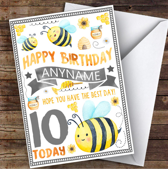 Busy Bumble Bee Any Age & Name Personalised Children's Birthday Card