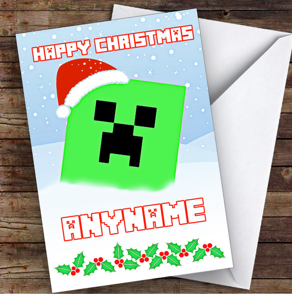 Minecraft Christmas Creeper In The Snow Personalised Children's Christmas Card