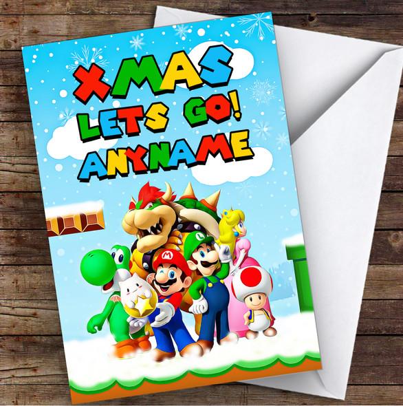 Super Mario Xmas Lets Go Retro Gaming Personalised Children's Christmas Card