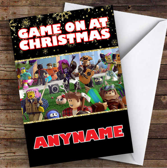 Roblox Game On At Christmas Personalised Children's Christmas Card