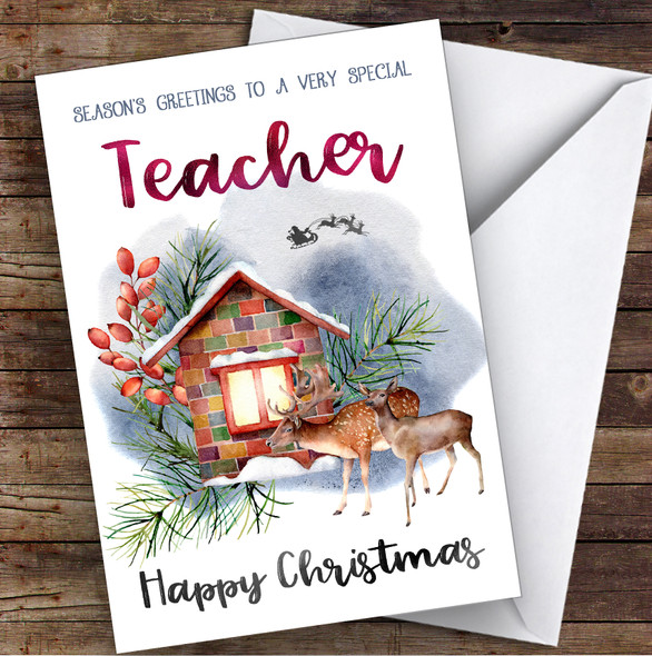 Watercolour Deer To Very Special Teacher Personalised Christmas Card