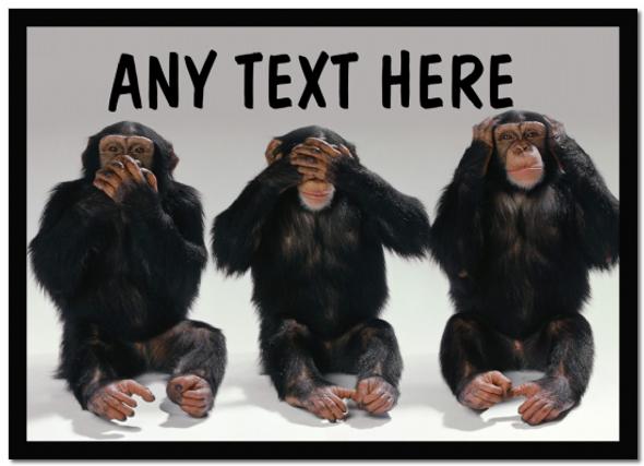 3 Monkeys Personalised Computer Mousemat