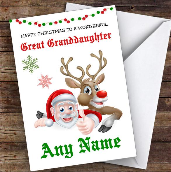 Santa & Reindeer Wonderful Great Granddaughter Personalised Christmas Card