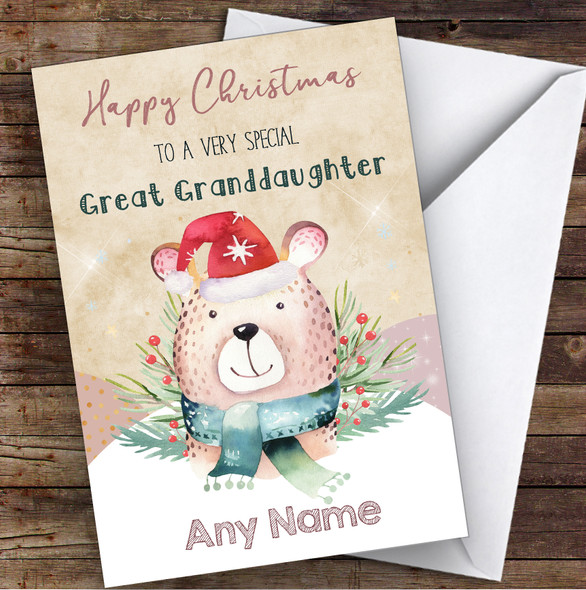 Watercolour Bear Special Great Granddaughter Personalised Christmas Card