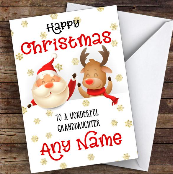 Cute Santa & Reindeer Peeping Granddaughter Personalised Christmas Card