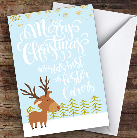 Worlds Best Foster Carers Rudolf Snow Scene Personalised Christmas Card