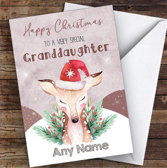 Watercolour Reindeer Special Granddaughter Personalised Christmas Card