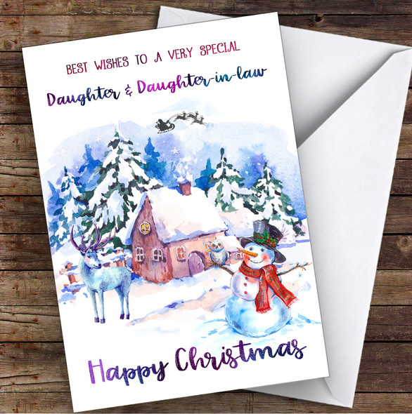 Watercolour Snowman Special Daughter & Daughter-In-Law Christmas Card