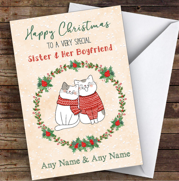 Cute Cats Romantic Sister & Her Boyfriend Personalised Christmas Card