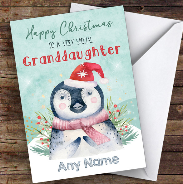 Watercolour Penguin Special Granddaughter Personalised Christmas Card