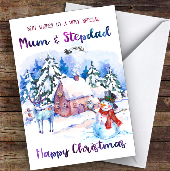 Watercolour Snowman Special Mum & Stepdad Personalised Christmas Card