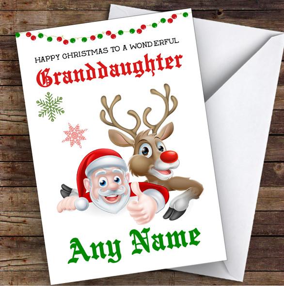 Santa & Reindeer Wonderful Granddaughter Personalised Christmas Card
