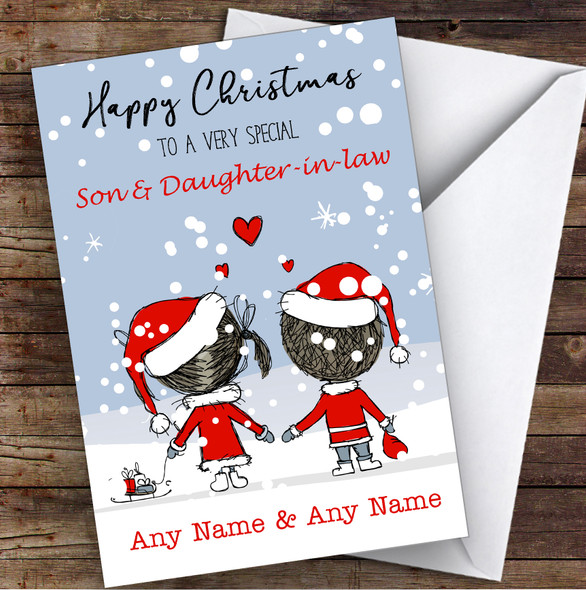 Snowy Scene Couple Son & Daughter-In-Law Personalised Christmas Card