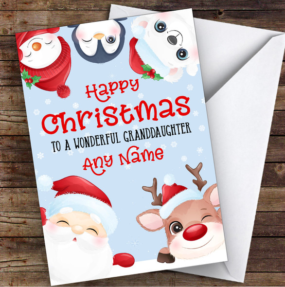 Cute Christmas Characters Granddaughter Personalised Christmas Card