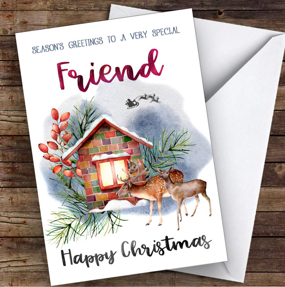Watercolour Deer To Very Special Friend Personalised Christmas Card