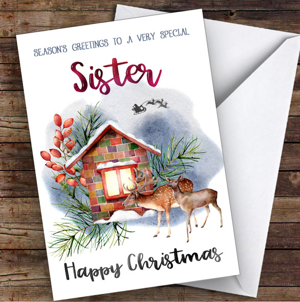 Watercolour Deer To Very Special Sister Personalised Christmas Card