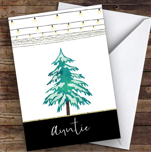 Auntie Modern Christmas Lights & Tree Personalised Christmas Card