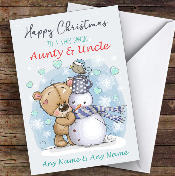 Bear & Snowman Romantic Aunty & Uncle Personalised Christmas Card